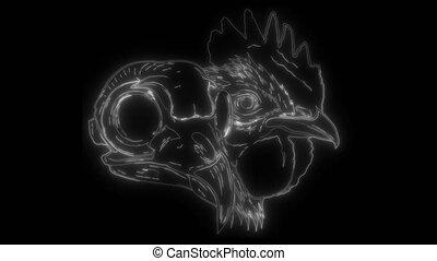 numérique, croquis, poulet, néon, vidéo, crâne, typon