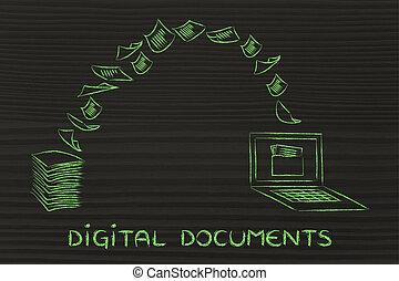 numérique, documents:, balayage, papier, et, tourner, il, dans, données