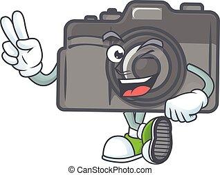 numérique, doigts, appareil photo, mascotte, image, dessin animé, deux, mignon