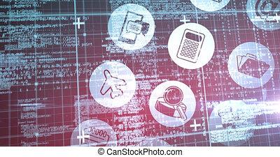 numérique, données, grille, icônes, sur, multiple, animation, traitement