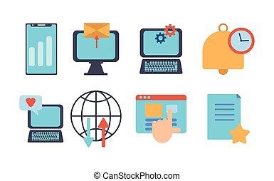 numérique, données, icônes, multimédia, ensemble, technologie