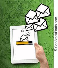 numérique, envoi, email, tablette
