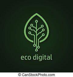 numérique, feuille arbre, icône, style