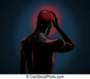 numérique, figure, avoir, mal tête