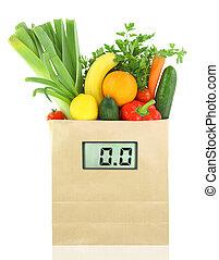 numérique, fruits, papier, légumes frais, sac, régime, épicerie, échelle