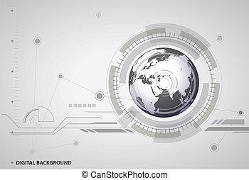 numérique, global, fond, résumé