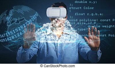 numérique, globe, casque à écouteurs, homme, virtuel, ...