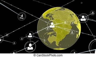 numérique, globe, en mouvement, connecteurs, données