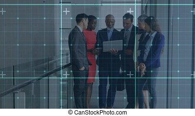 numérique, grille, businesspeople, contre, marqueurs, ...