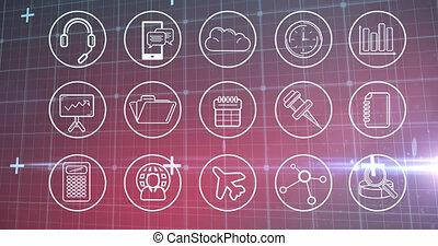 numérique, grille, icônes, sur, multiple, animation