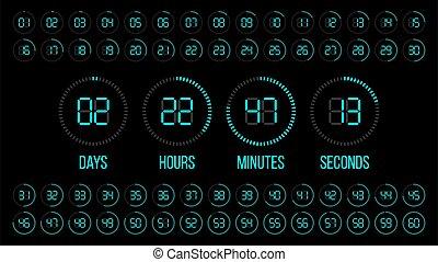 numérique, heures, scoreboard, compte rebours, seconds., jours, clock., minutes, timer., vecteur