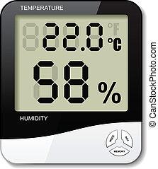 numérique, humidité, vecteur, thermomètre, hygromètre, icône