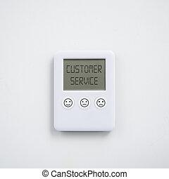numérique, imprimé, différent, boutons, horloge, service, expressions, client, concept, satisfaction