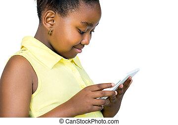 numérique, jouer, vue, côté, africaine, tablet., gosse