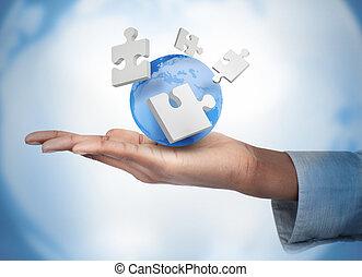numérique, main, globe, puzzles