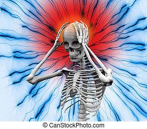 numérique, mal tête, avoir, squelette