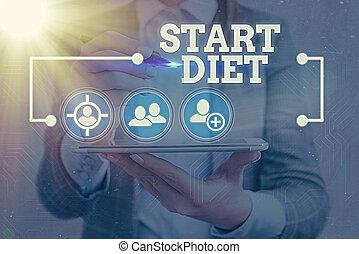 numérique, mode, éléments, début, photo, signe information, réseau, surveillé, connexion, icon., texte, diet., nourriture, conceptuel, projection, infographic, manger, technologie, pratique, regulated