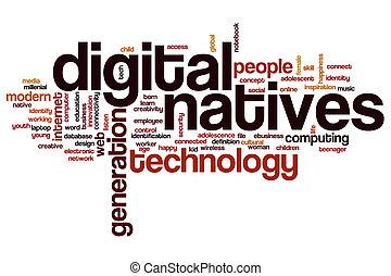 numérique, mot, nuage, indigènes