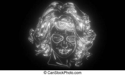 numérique, néon, visage femme, vidéo, crâne, peinture, sucre