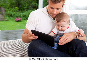 numérique, père, tablette, fils