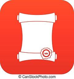 numérique, papier ciré, cachet, rouleau, rouges, icône