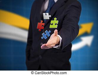 numérique, puzzles, coloré, homme affaires