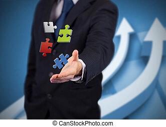 numérique, puzzles, homme affaires