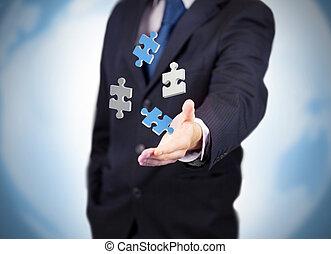 numérique, puzzles, levitating, homme affaires