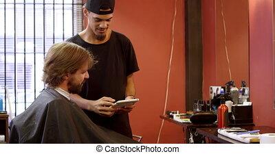 numérique, quoique, coiffeur, dialoguer, utilisation, tablette, homme, 4k