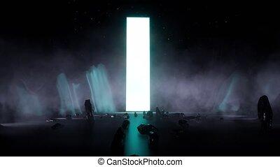 numérique, scene., fantasme, futuristic-, 3d, technology., art., bataille, sky., sci-fi, résumé, militaire, photographie, arrière-plan., technologie, ship., concept.