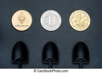 numérique, terrestre, argent., crypto, ethereum, monnaie, noir, bitcoins, pelle, texture, cryptocurrency, virtuel, rugueux, argent, exploitation minière