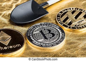 numérique, terrestre, argent., crypto, ethereum, monnaie, noir, bitcoins, pelle, texture, cryptocurrency, virtuel, rugueux, doré, argent, exploitation minière