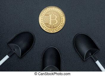 numérique, terrestre, argent., sur, crypto, monnaie, noir, bitcoins, vue, pelle, texture, cryptocurrency, rugueux, doré, sommet, exploitation minière