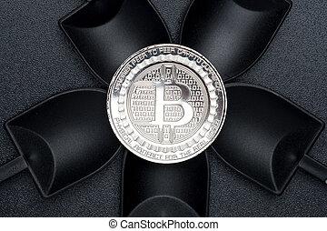 numérique, terrestre, argent., sur, crypto, monnaie, noir, bitcoins, vue, pelle, texture, cryptocurrency, rugueux, argent, sommet, exploitation minière