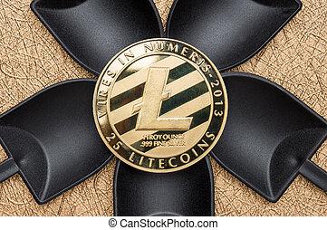 numérique, terrestre, argent., sur, crypto, noir, pelle, vue, texture, cryptocurrency, rugueux, doré, argent, sommet, litecoin, exploitation minière