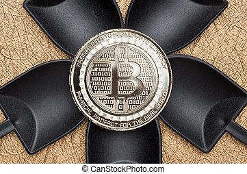 numérique, terrestre, sur, crypto, monnaie, noir, argent, bitcoins, vue, pelle, texture, cryptocurrency, rugueux, doré, argent, sommet, exploitation minière