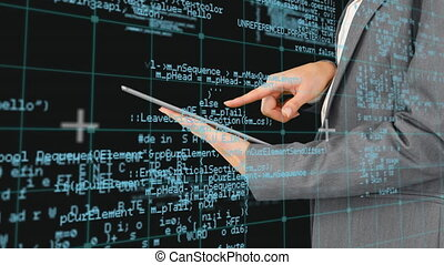 numérique, utilisation, affaires femme, tablette