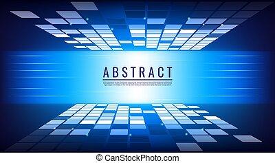 numérique, vecteur, bleu, concept abstrait, technologie, fond