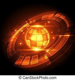 numérique, vecteur, résumé, global, technologie, concept, fond