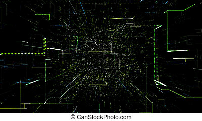 numérique, virtuel, 3d, vert, tunnel, illustration, résumé, space., voler, données, par