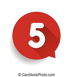 numéro cinq, 5, bulle discours, rouges