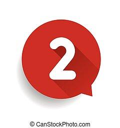 numéro deux, 2, bulle discours, rouges
