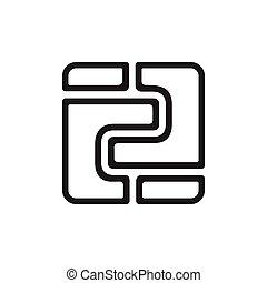 numéro deux, conception, carrée, vecteur, mosaïque, ligne