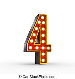 numéro quatre, lumières, incandescent, retro, exposer