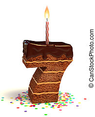 numéro sept, formé, gâteau chocolat