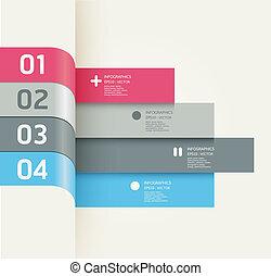numéroté, être, graphique, utilisé, disposition, moderne, lignes, horizontal, /, site web, bannières, vecteur, conception, boîte, gabarit, infographics, coupure, ou