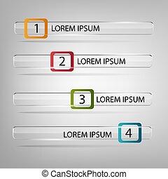 numéroté, être, utilisé, horizontal, infographics, lignes, site, layout., bannières, vecteur, boîte, graphiques, coupure, ou