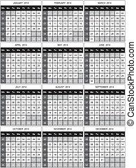 numéroté, 2014, calendrier, semaines