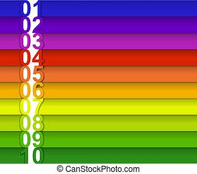 numéroté, bannière, coloré