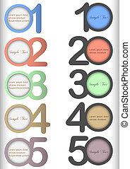 numéroté, bannières, différent, couleurs, rond